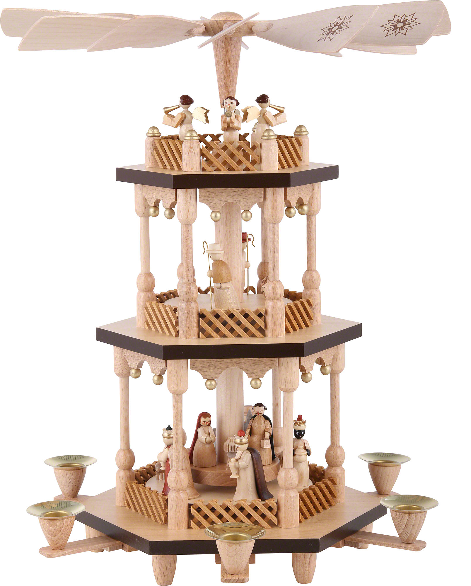 Christmas Pyramid.3 Tier Pyramid Nativity Scene Natural Wood 38 Cm 15 Inch