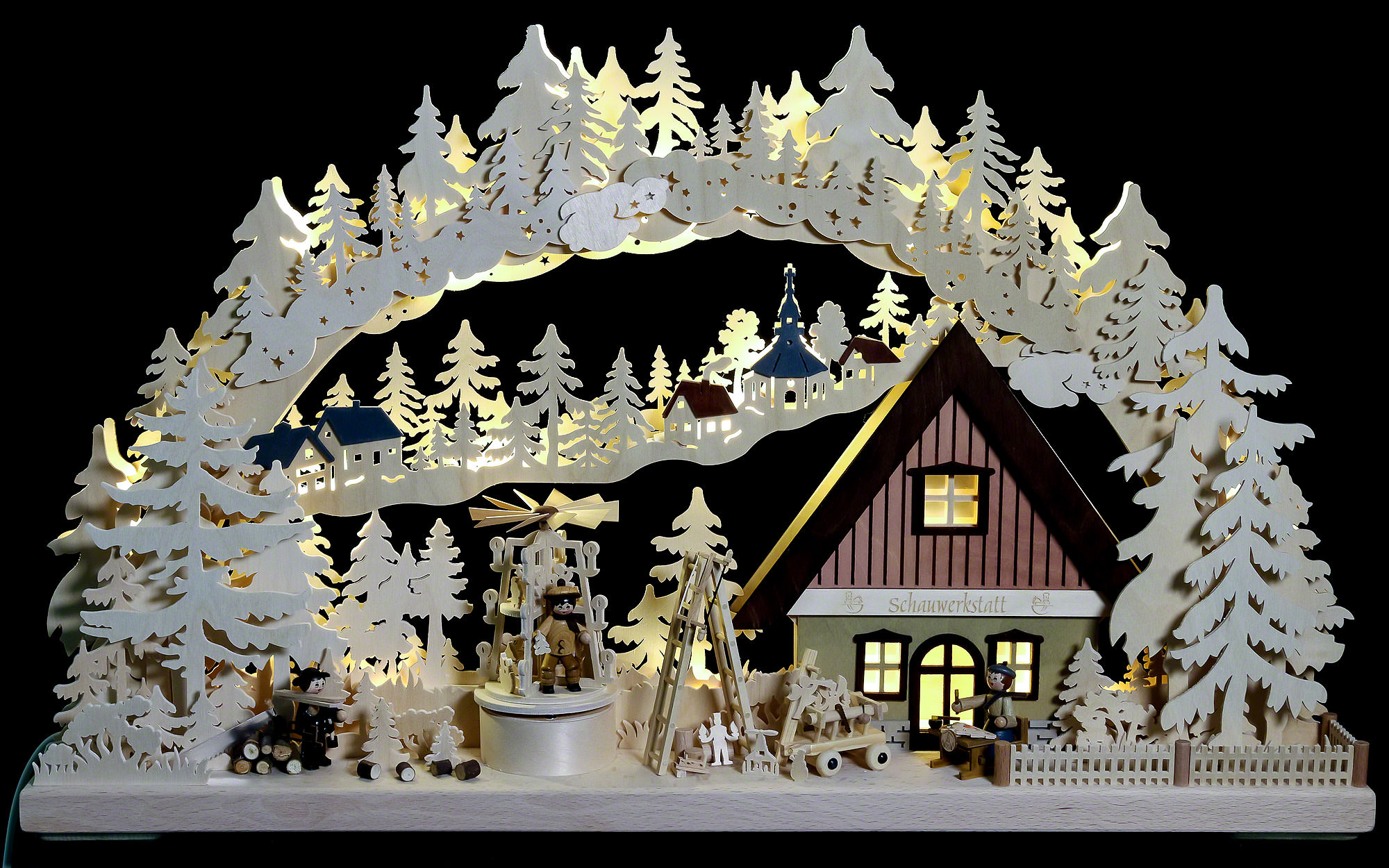 3d double arch workshop with christmas pyramid 72 43 8 for Arch candle christmas decoration