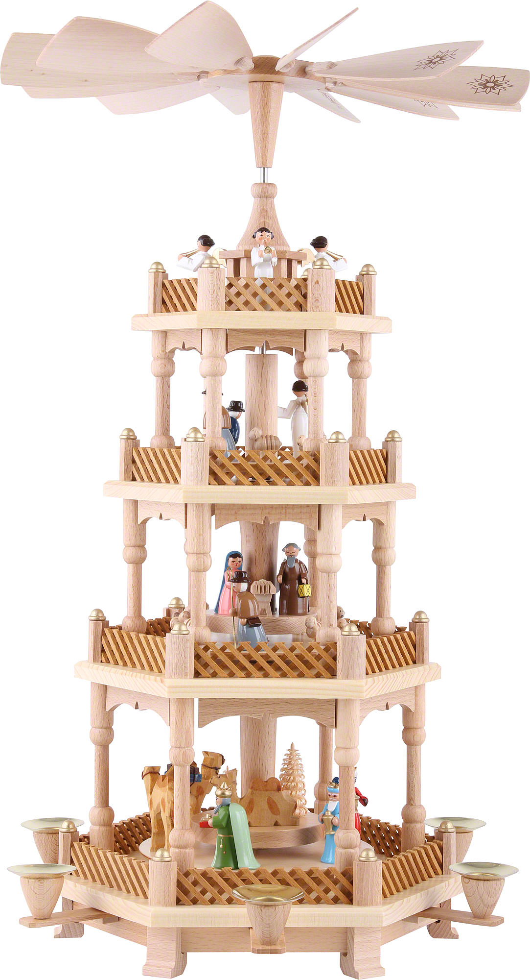 4 tier pyramid nativity scene painted 54 cm 21in by richard gl sser. Black Bedroom Furniture Sets. Home Design Ideas
