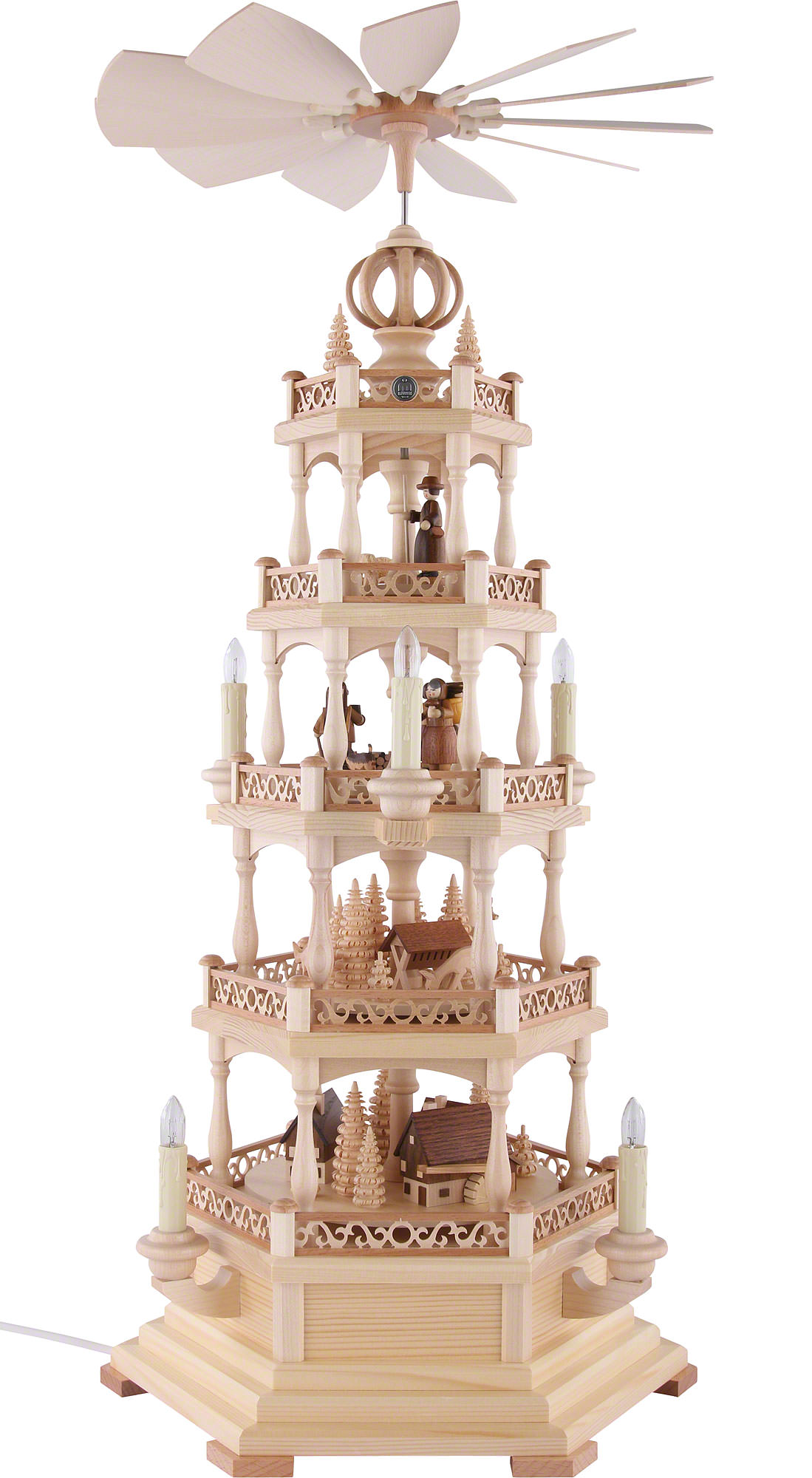 4-stöckige Pyramide Waldmotiv - elektrisch (71 cm) von Müller Kleinkunst