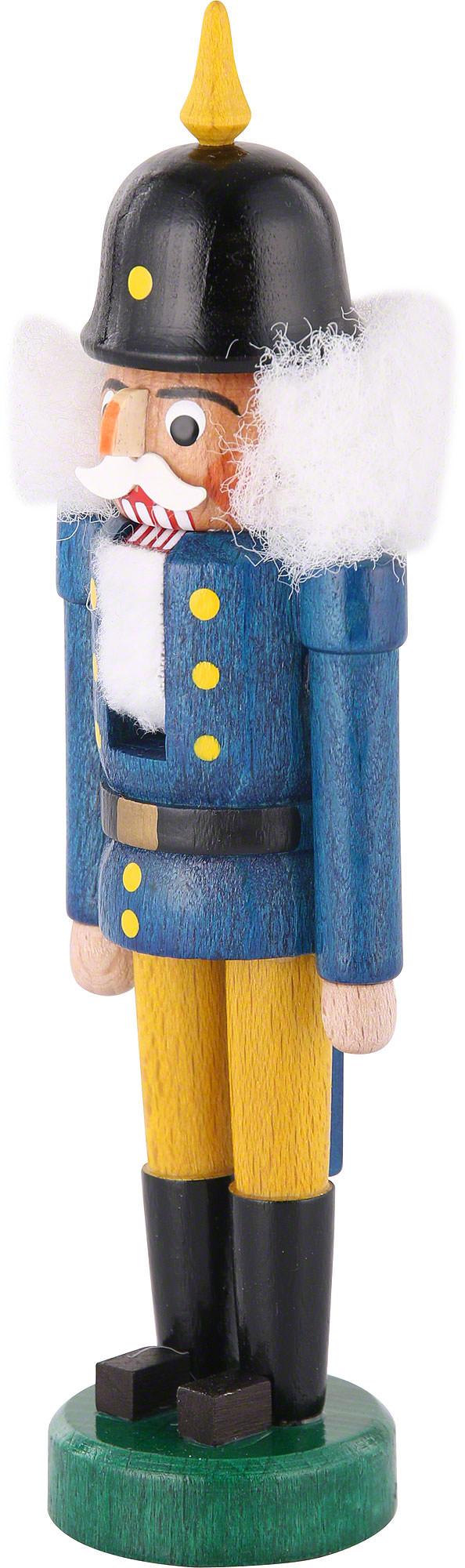 Nussknacker mit Pickelhaube blau-gelb BxHxT 5 cmx14 cmx3 cm NEU Erzgebirge