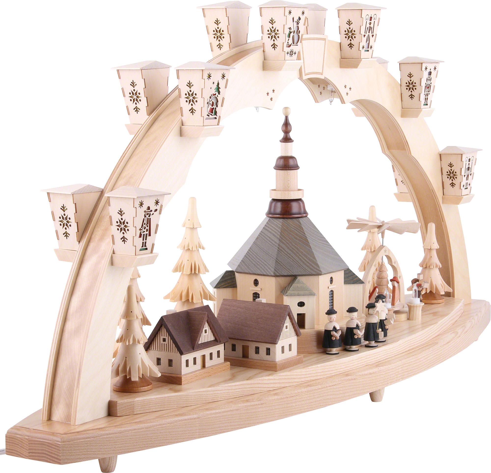 schwibbogen seiffener kirche mit pyramide 40 80 cm von richard gl sser. Black Bedroom Furniture Sets. Home Design Ideas