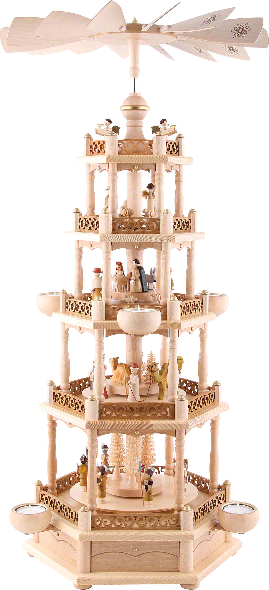 5 tier pyramid nativity 74 cm 30in by richard gl sser. Black Bedroom Furniture Sets. Home Design Ideas