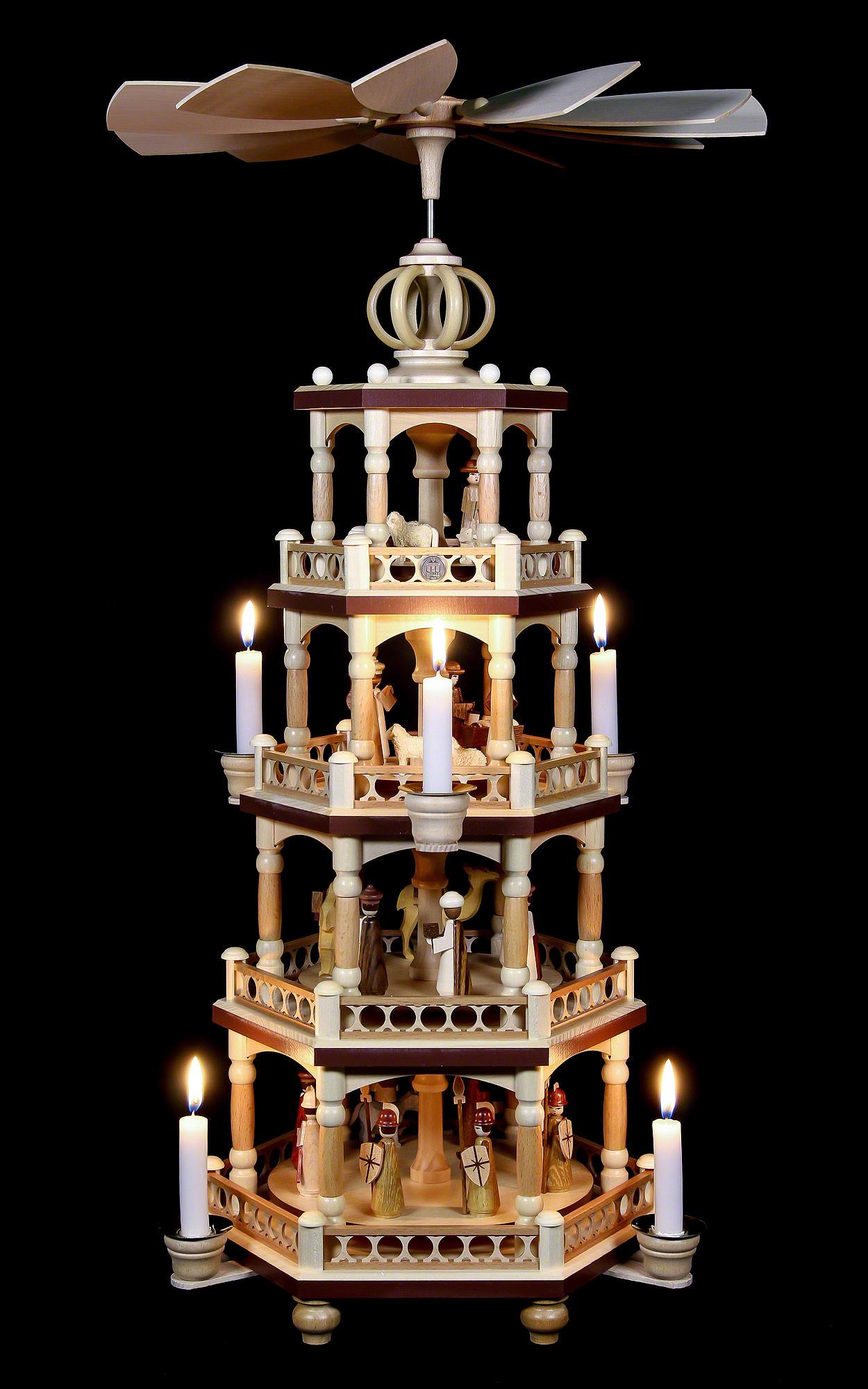 4 st ckige weihnachtspyramide heilige geschichte 64 cm. Black Bedroom Furniture Sets. Home Design Ideas