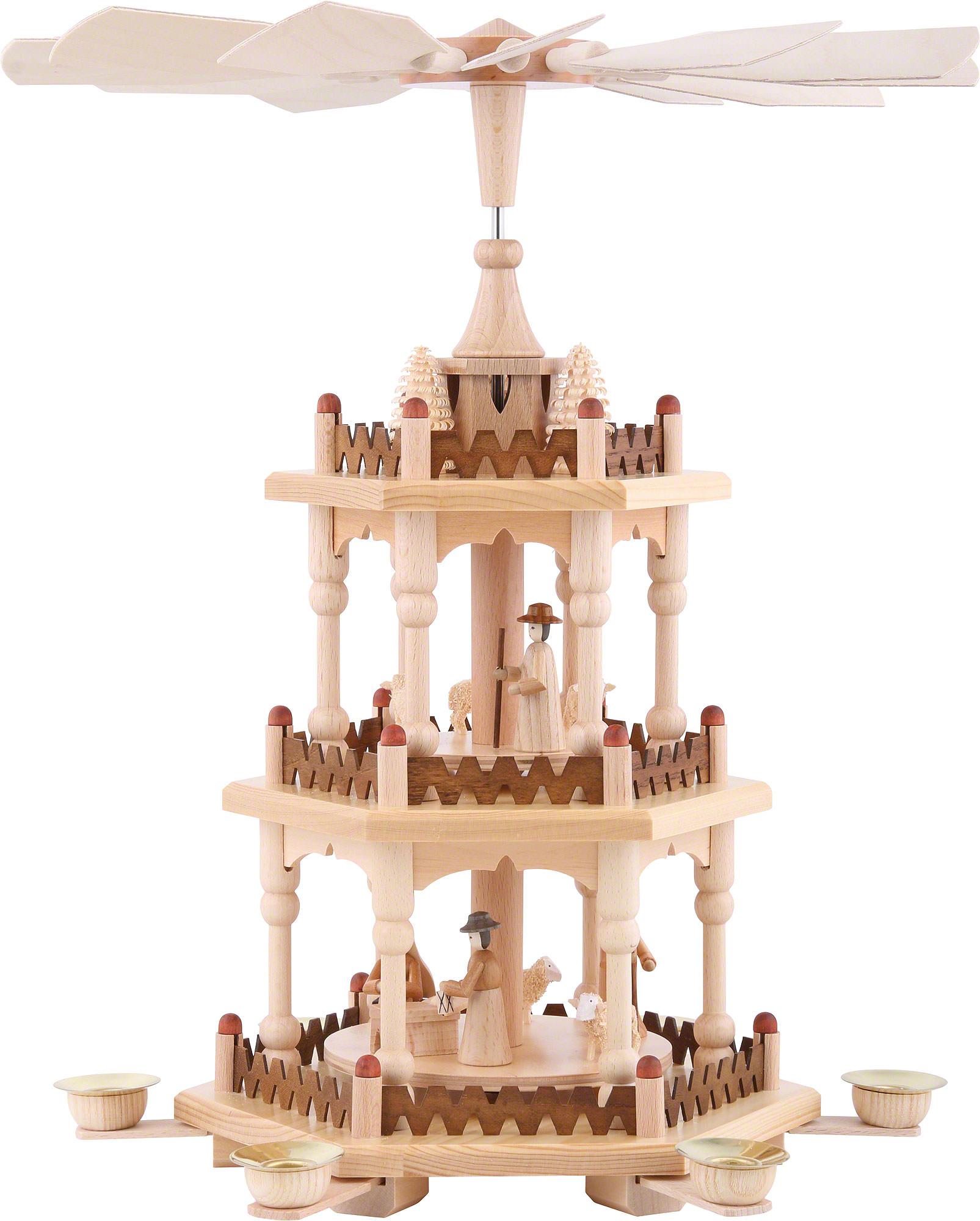 3 tier pyramid merry christmas 41 cm16in by theo lorenz kunsthandwerk
