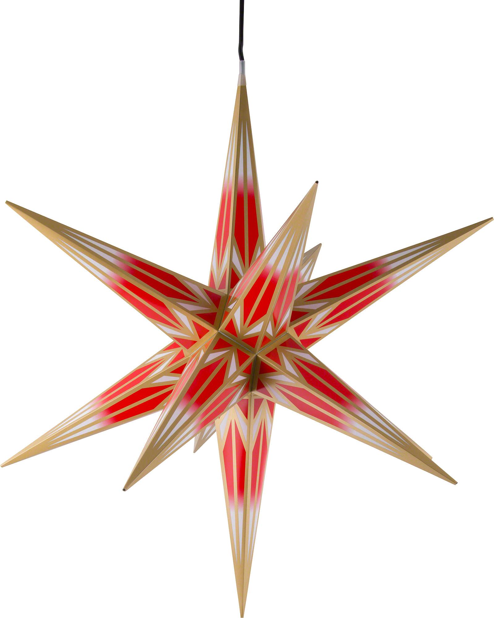 ha lauer weihnachtsstern f r innen und au en rot wei mit goldmuster inkl beleuchtung 75 cm. Black Bedroom Furniture Sets. Home Design Ideas