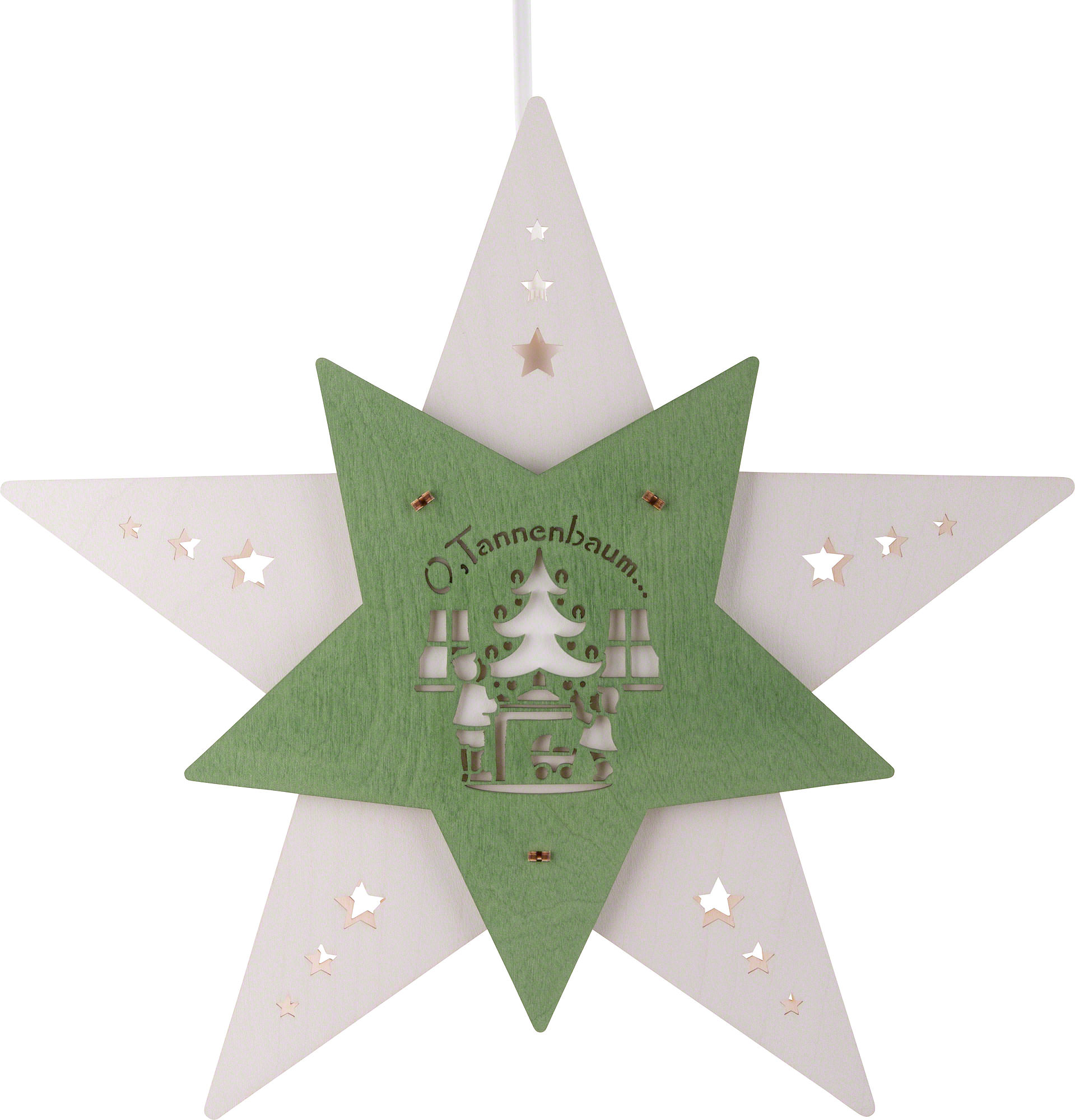 Tannenbaum Weiss Led.Fensterbild Stern Oh Tannenbaum Weiß Grün Led 30 5x29x6 Cm