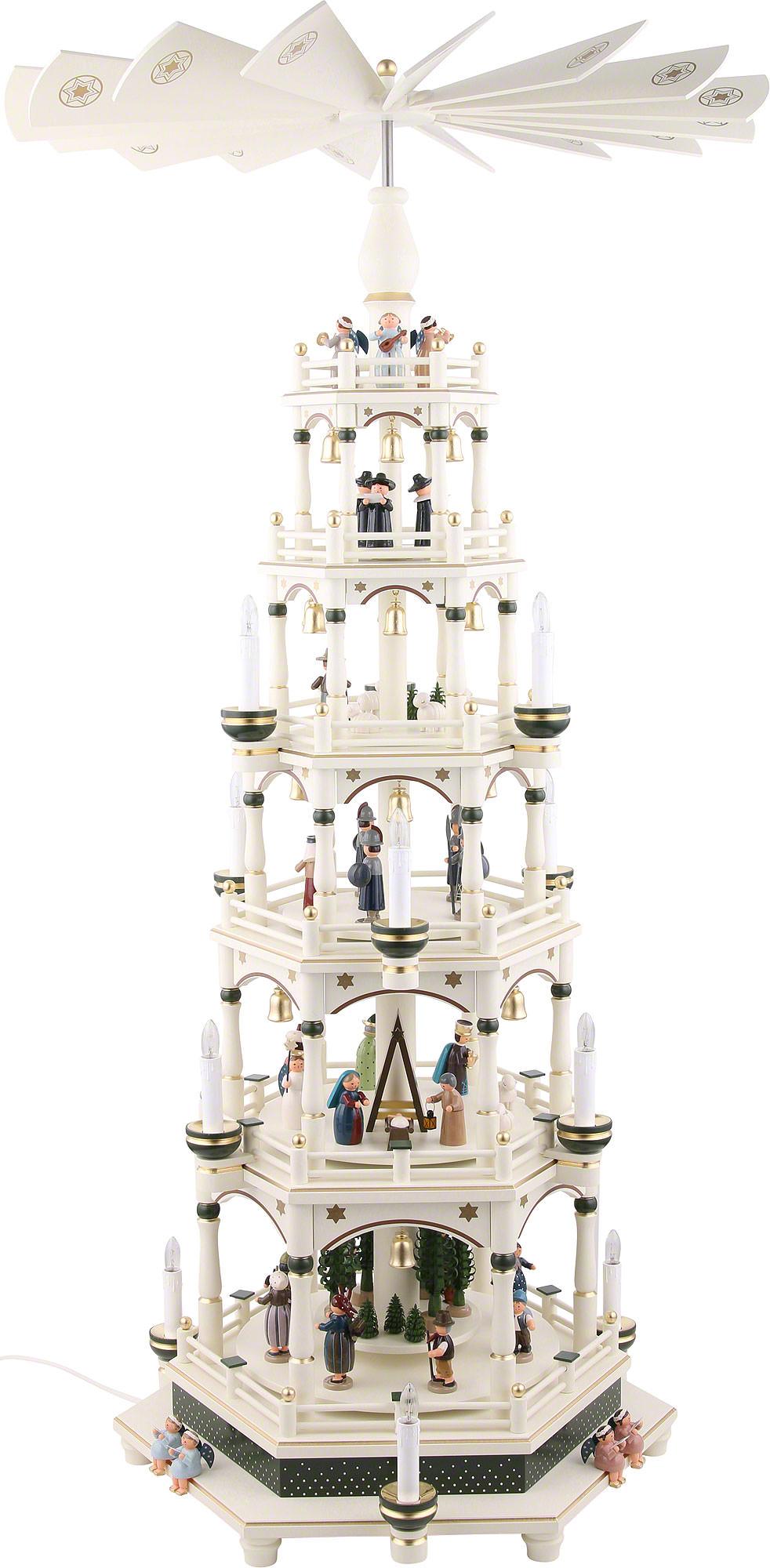 6-stöckige Weihnachtspyramide weiß-grün, elektrisch (106 cm) - 220V ...