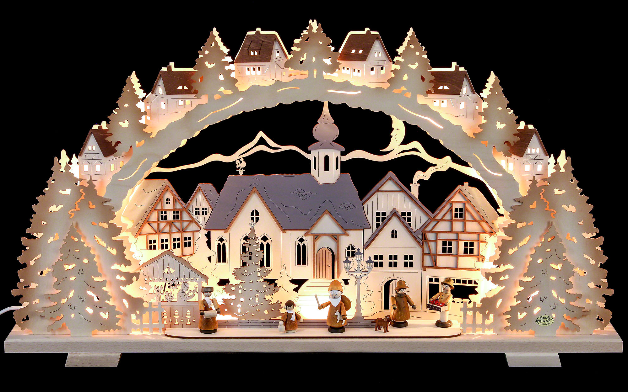 Christmas Time.Candle Arch Christmas Time Natural Wood Exclusive 72x41x7 Cm 28x16x3 Inch
