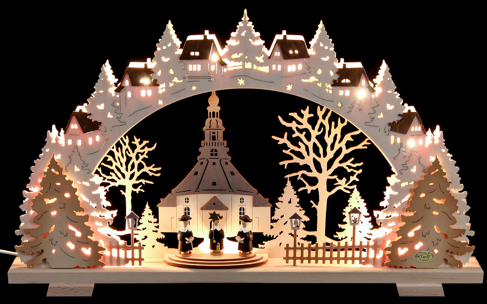 Candle arch church of seiffen with carolers exclusive for Arch candle christmas decoration