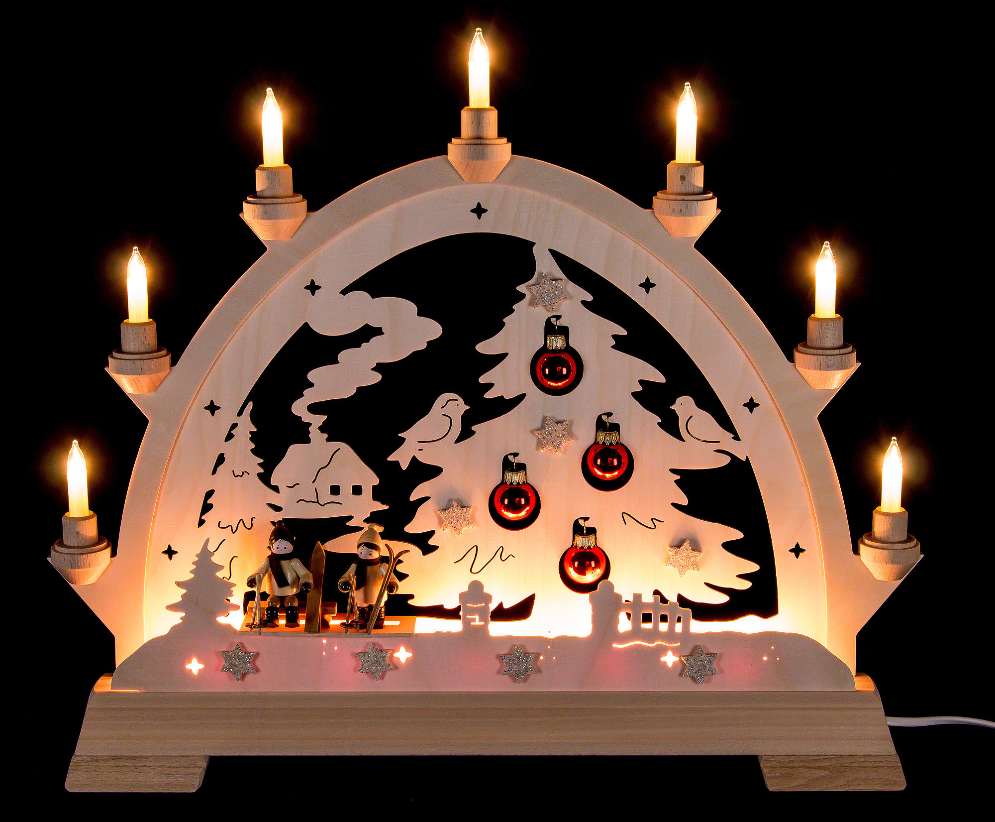 Candle Arch - House with House, Skier and Balls - 48 cm / 18 9 inch
