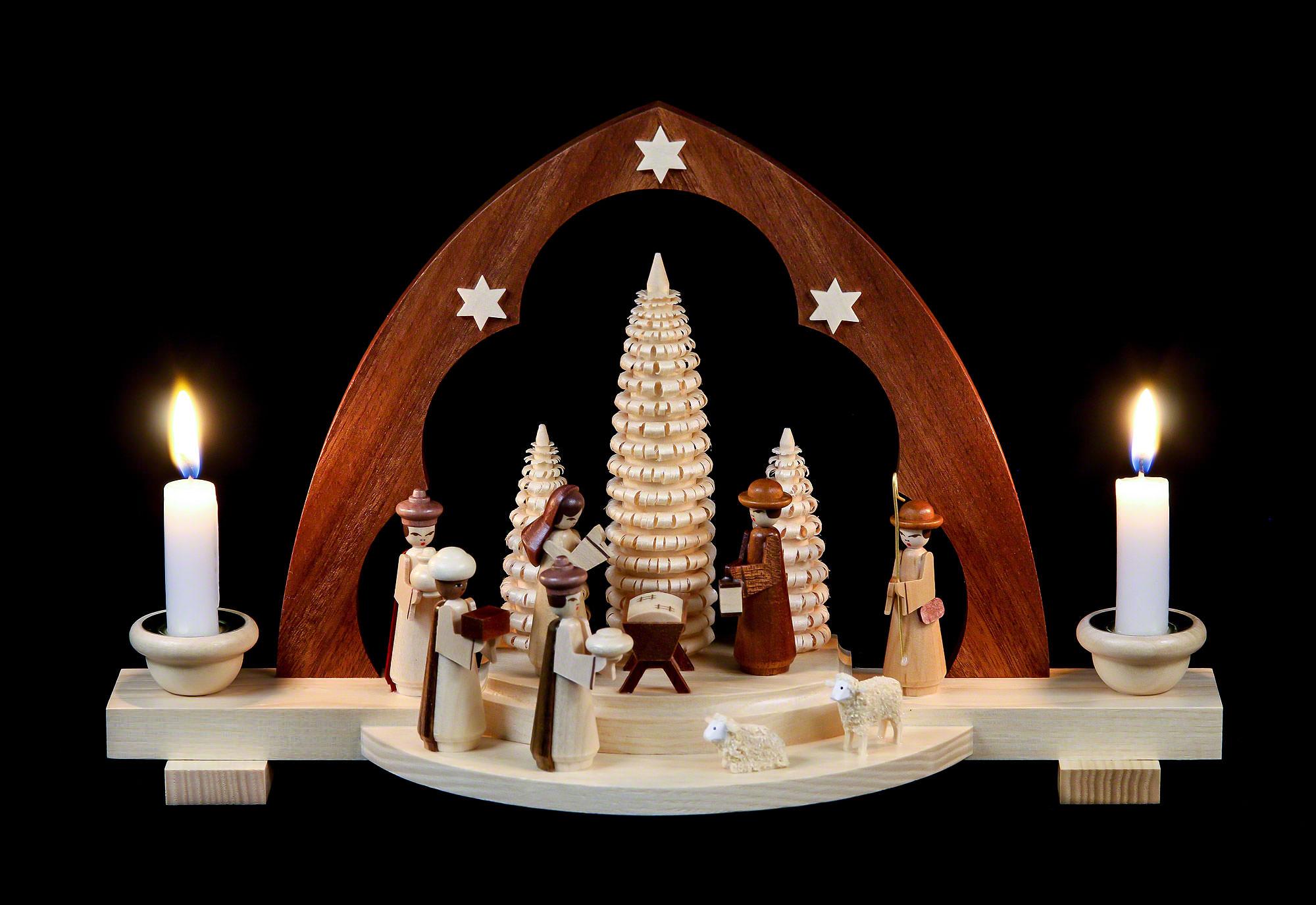 candle arch nativity scene 30 cm 12in by m ller kleinkunst. Black Bedroom Furniture Sets. Home Design Ideas