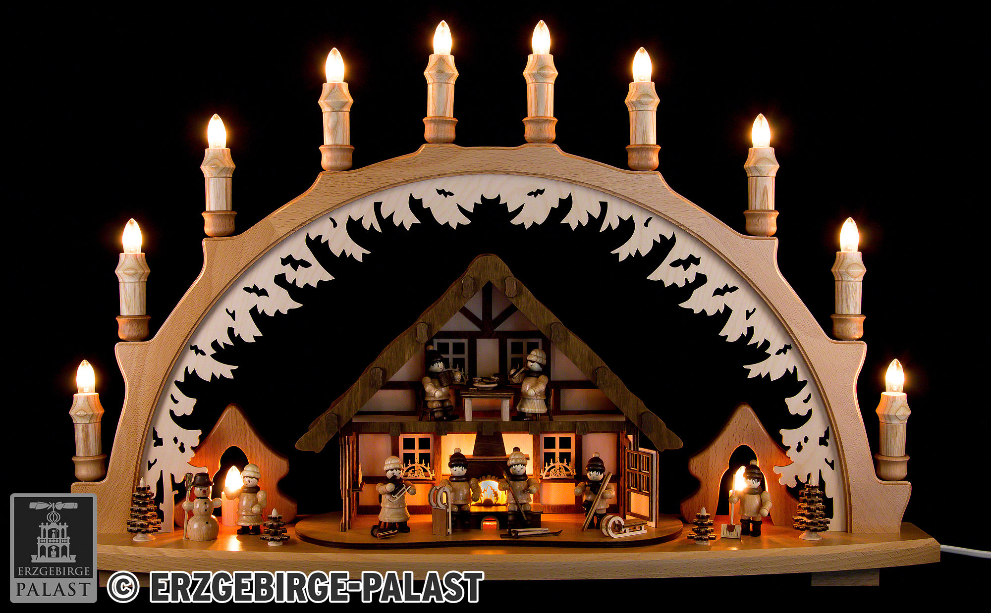 Candle Arch - Ore Mountain House with Winter Children - 66x43 cm / 26x16 9  inch