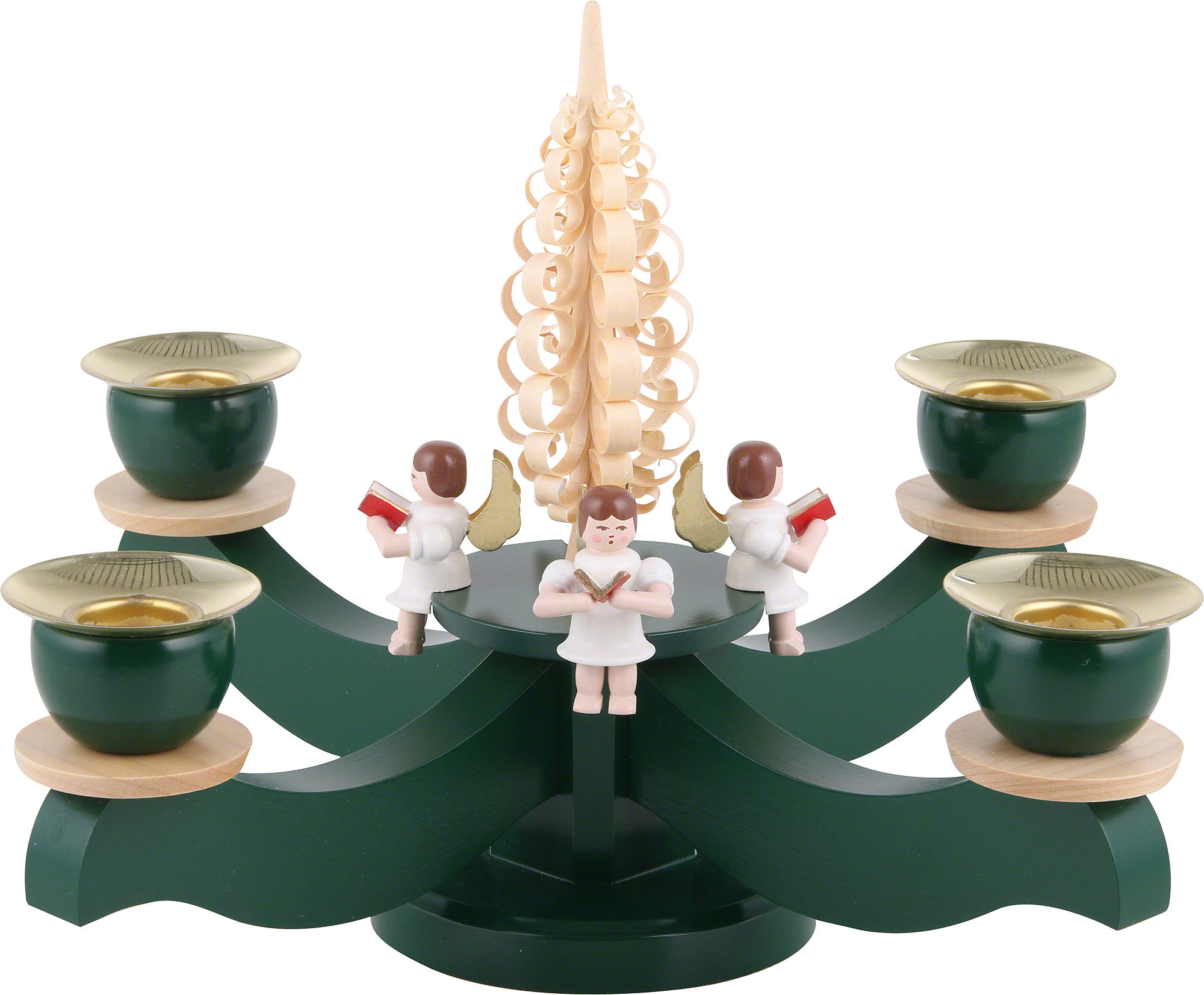 Candle Holder Advent Four Sitting Angels With Wood Chip Tree 22 19 Cm 8 7 7 5in By Albin Preissler