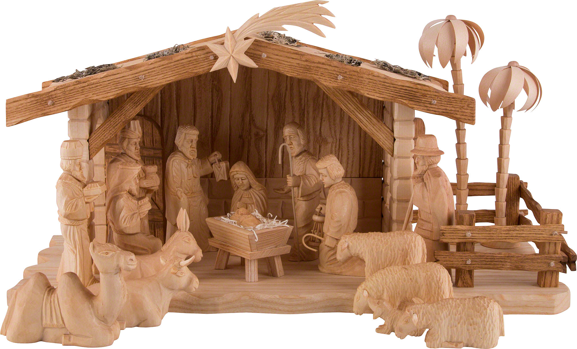 Carved Nativity Set Of 19 Pieces With Stable By Dregeno