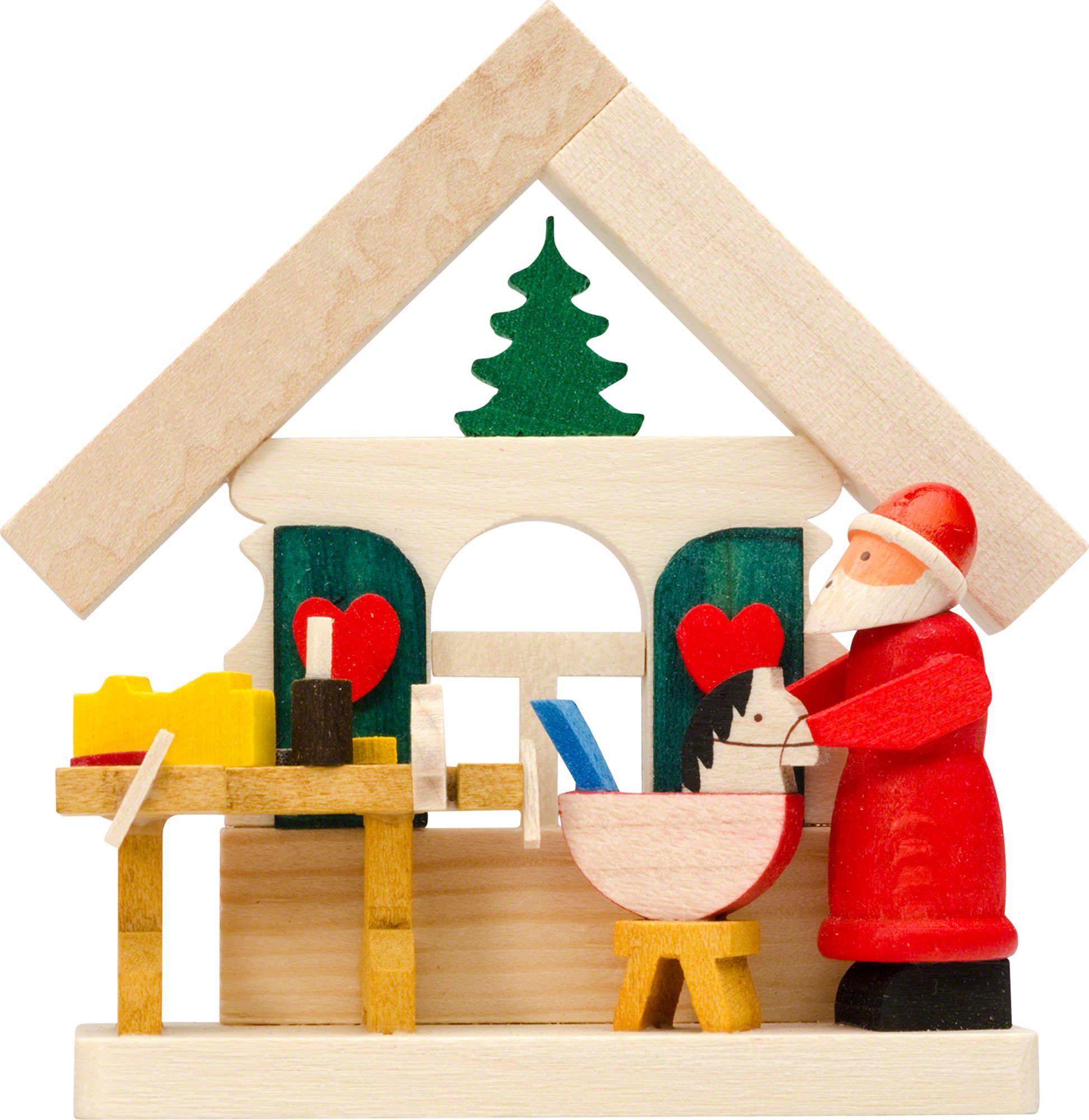 christbaumschmuck haus weihnachtsmann mit werkstatt 7 5. Black Bedroom Furniture Sets. Home Design Ideas