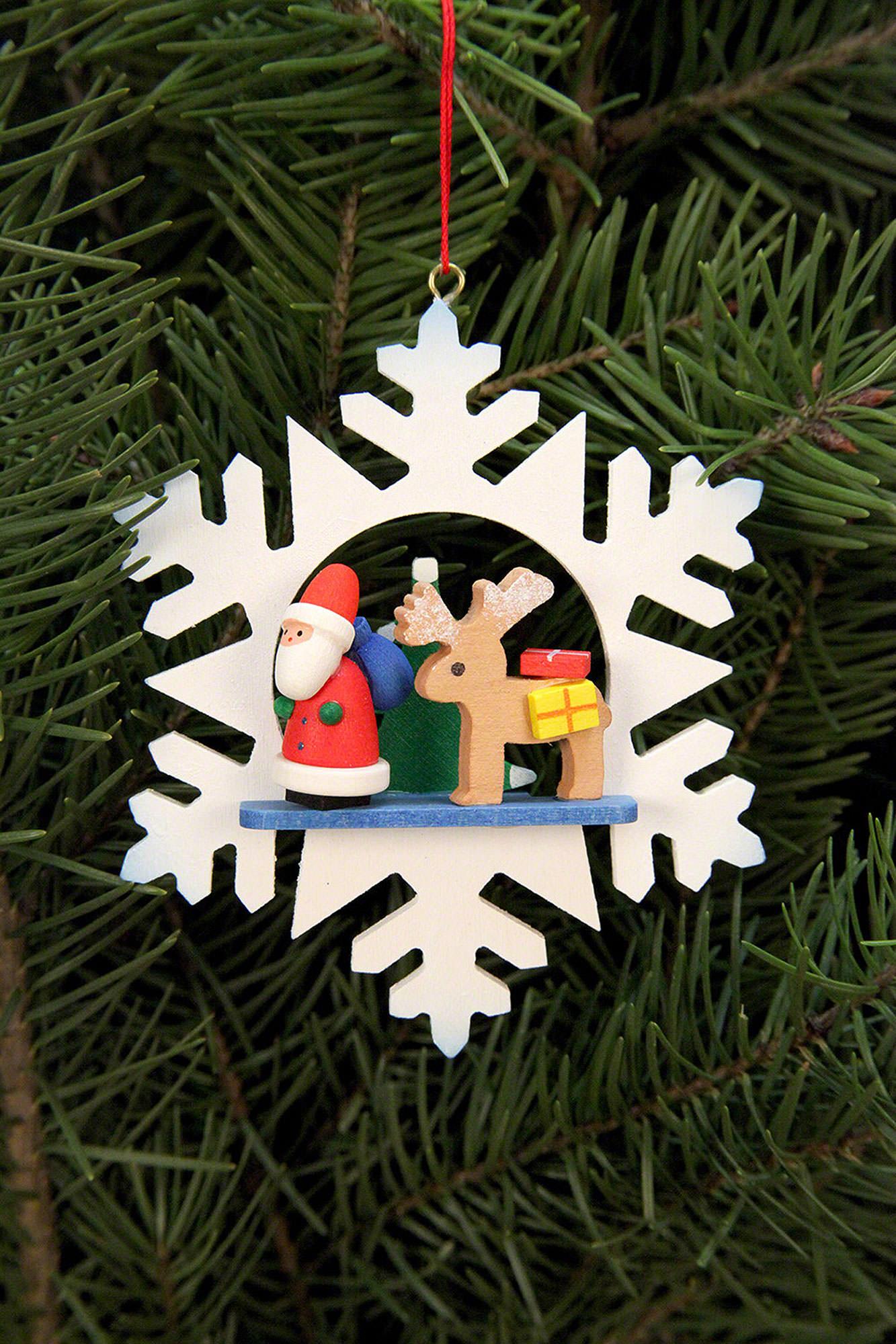 Christbaumschmuck Schneeflocke Weihnachtsmann Mit Rentier 9 9 Cm