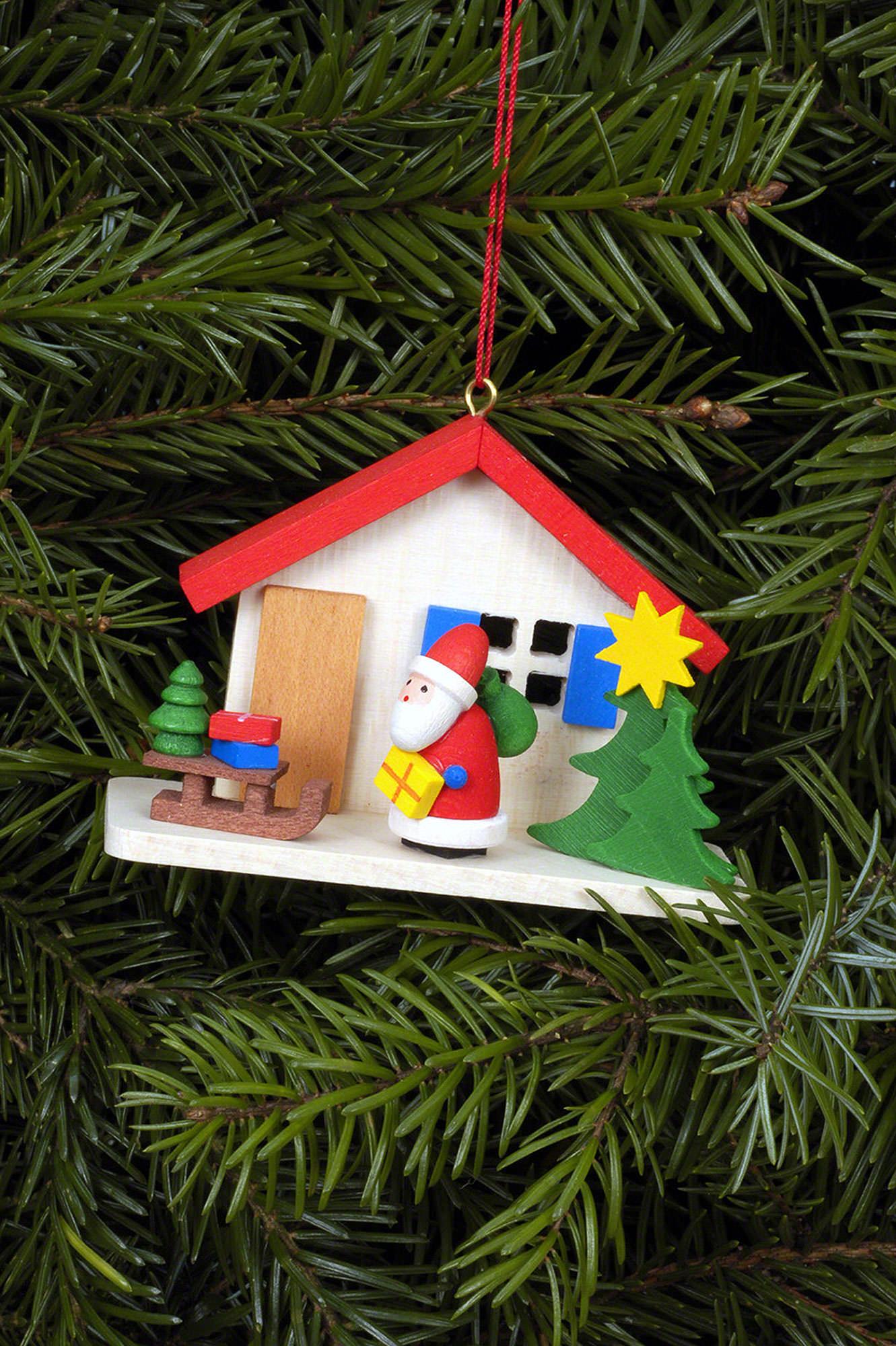 christbaumschmuck weihnachtsmann am haus 7×5 cm von