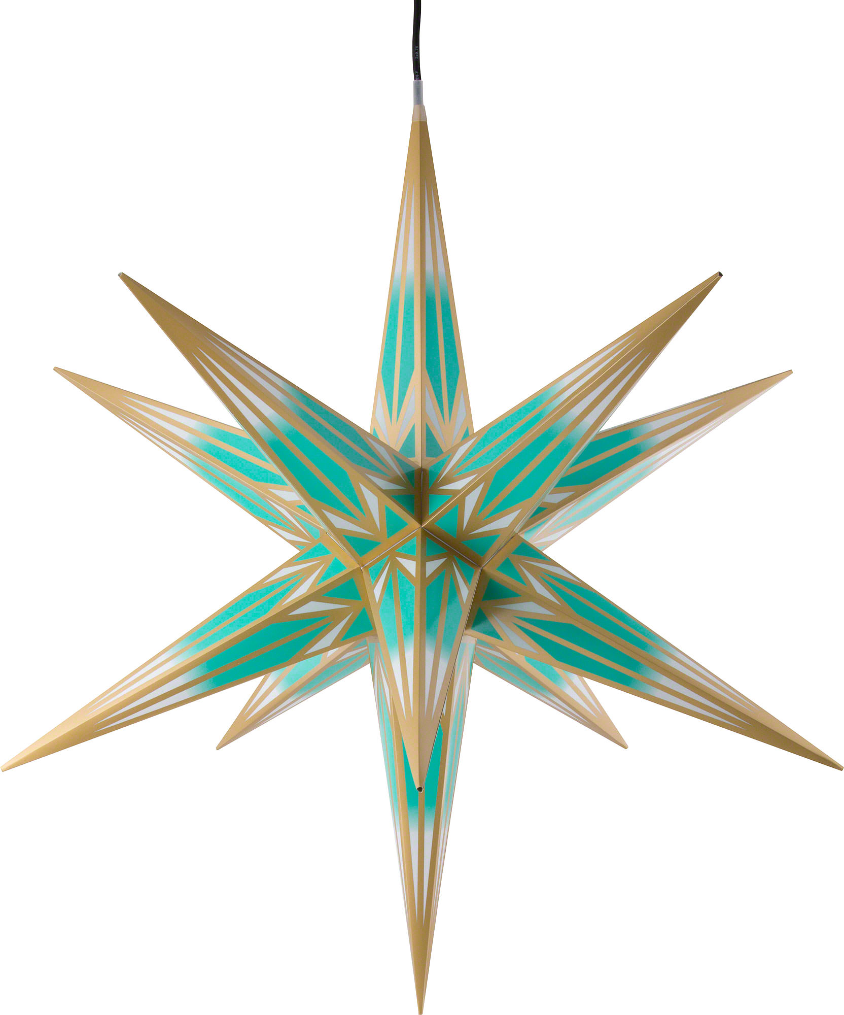 Hasslau Christmas Star For Outside Use Turquoise White