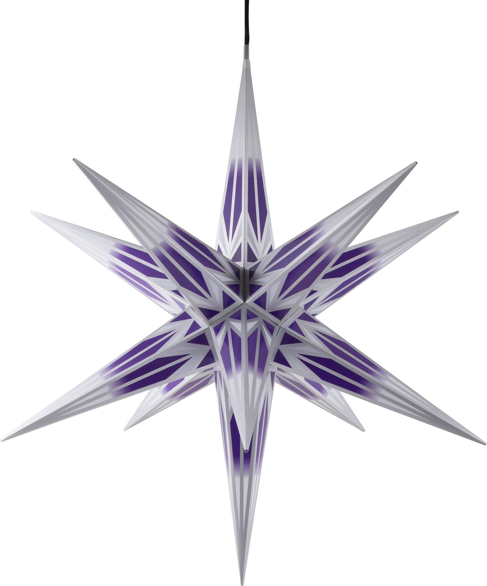 ha lauer weihnachtsstern f r innen und au en lila wei mit silbermuster inkl beleuchtung 75 cm. Black Bedroom Furniture Sets. Home Design Ideas
