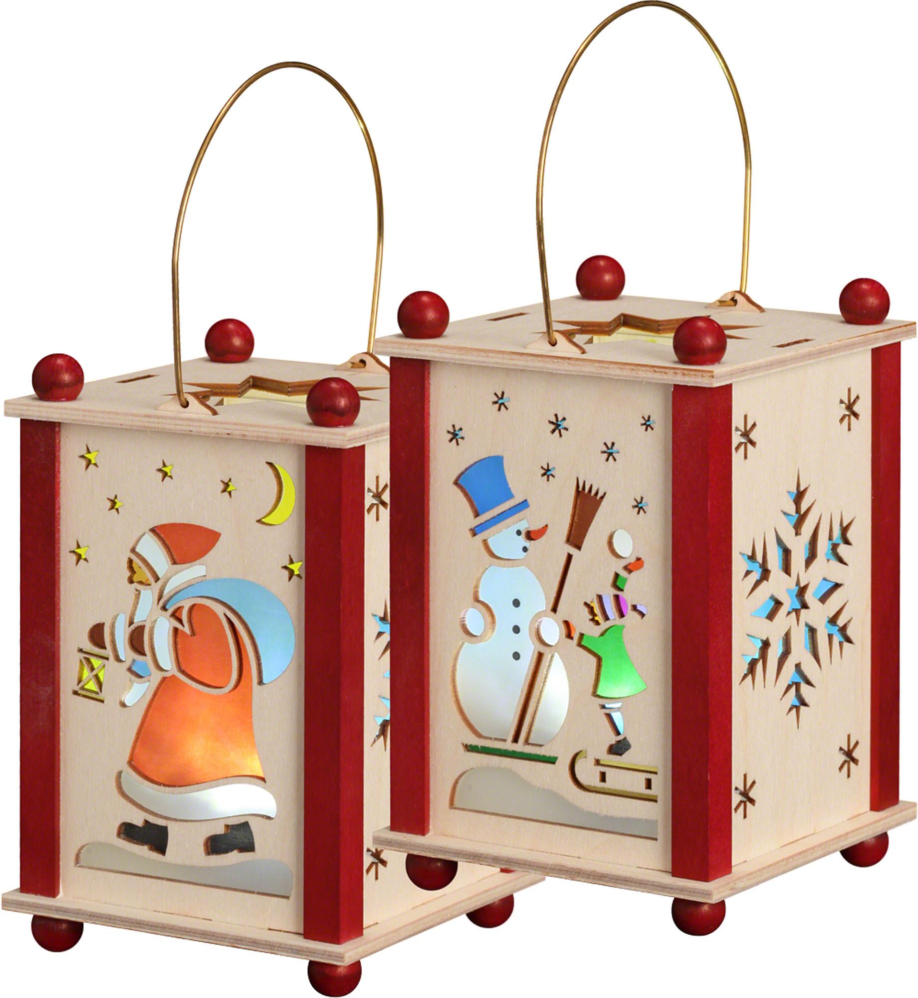 Laterne Weihnachtsmann & Schneemann (21 cm) von Seiffener Volkskunst