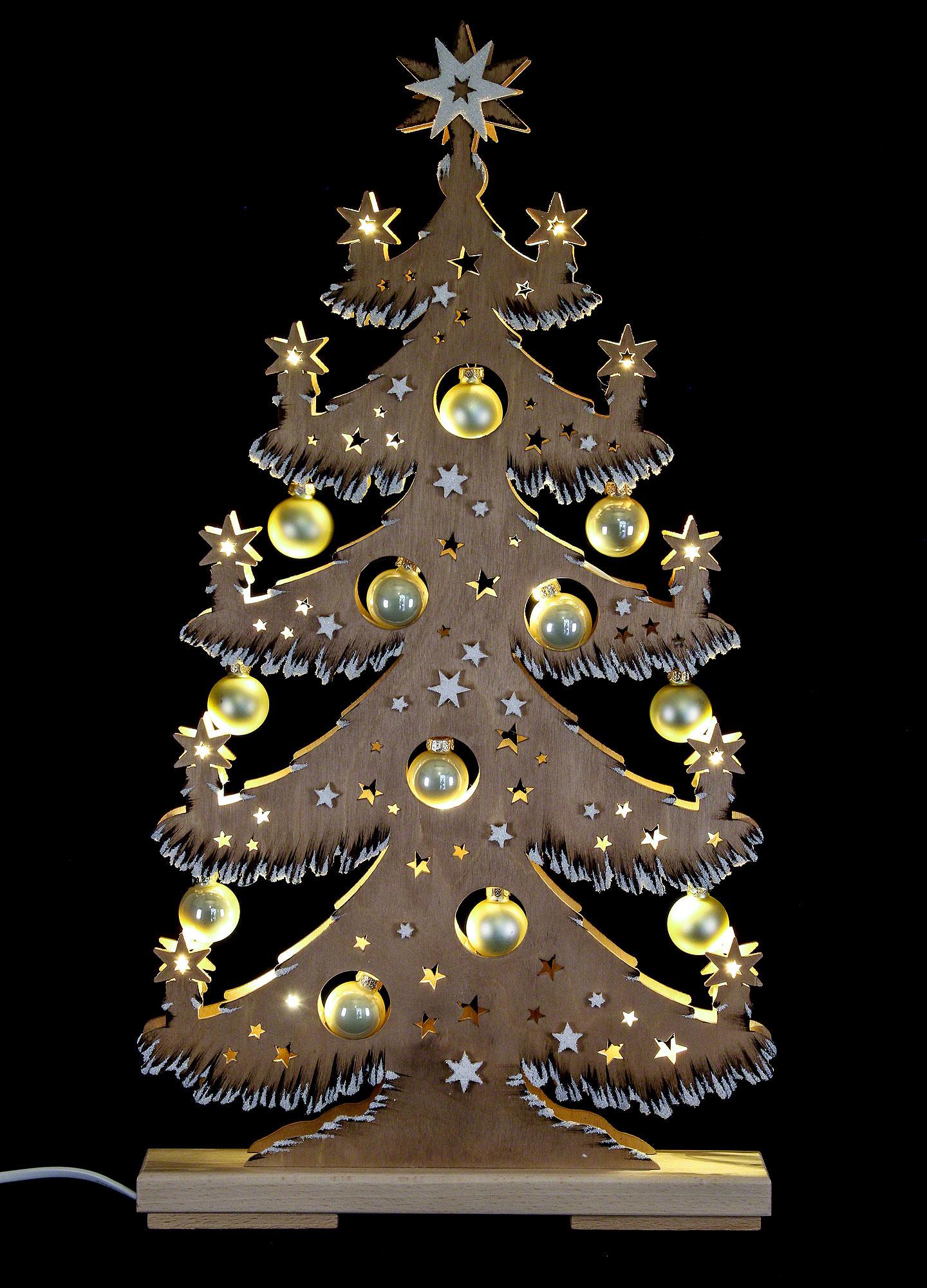 lichterspitze tanne goldene kugeln braun raureif 30 5 57 5 cm von ratags holzdesign. Black Bedroom Furniture Sets. Home Design Ideas