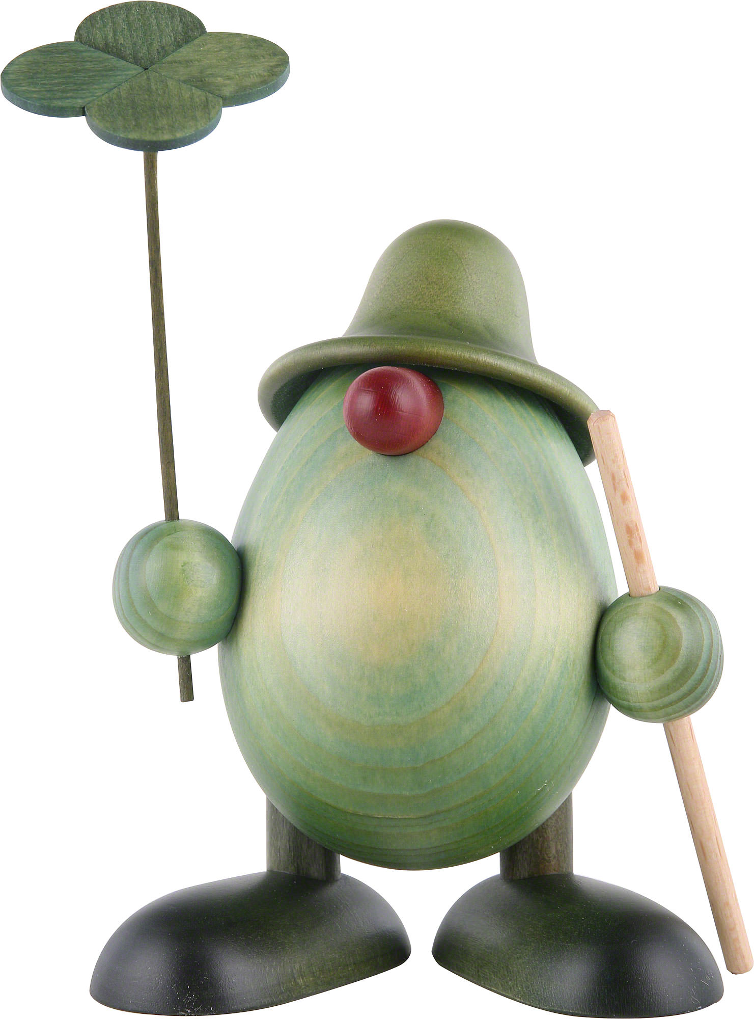 little green man with four leaf clover and stick standing 11 cm