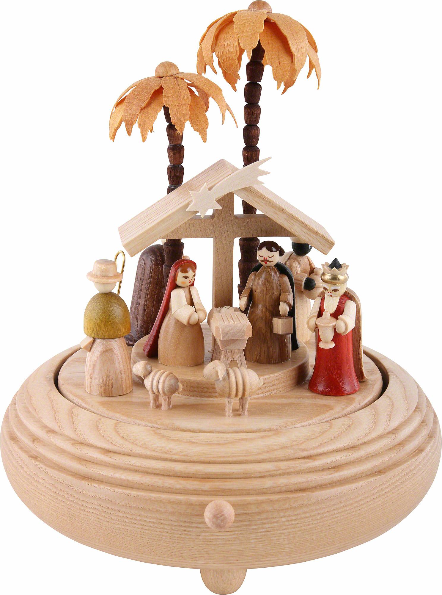 Music Box Nativity Scene Natural Wood 20 Cm 8in By Richard Glässer