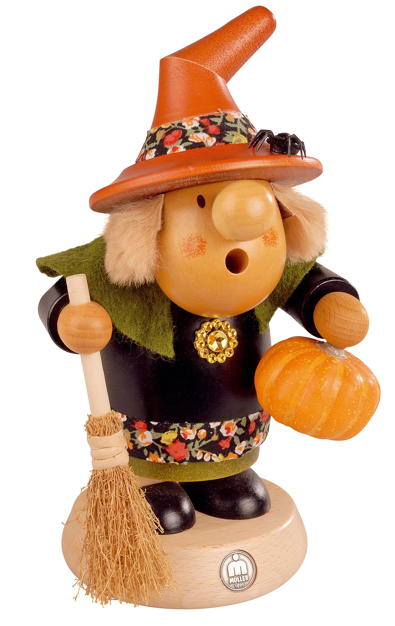 Räuchermännchen Halloween Hexe Mit Kürbis 11 Cm