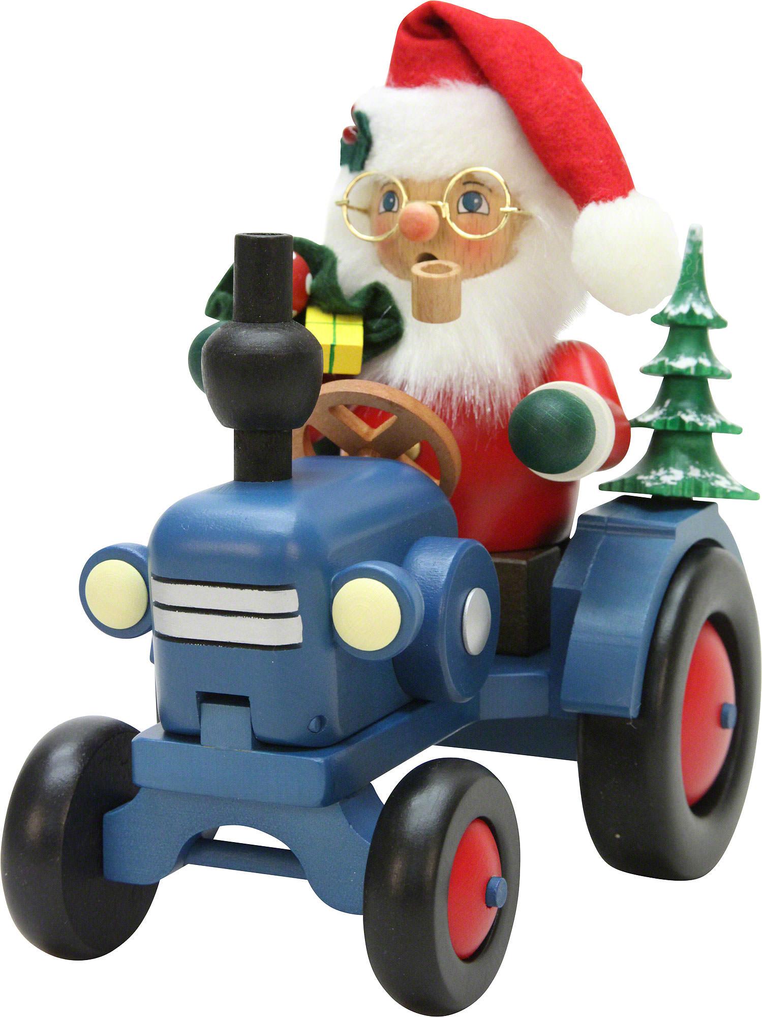 r ucherm nnchen weihnachtsmann auf traktor 19 5 cm von christian ulbricht