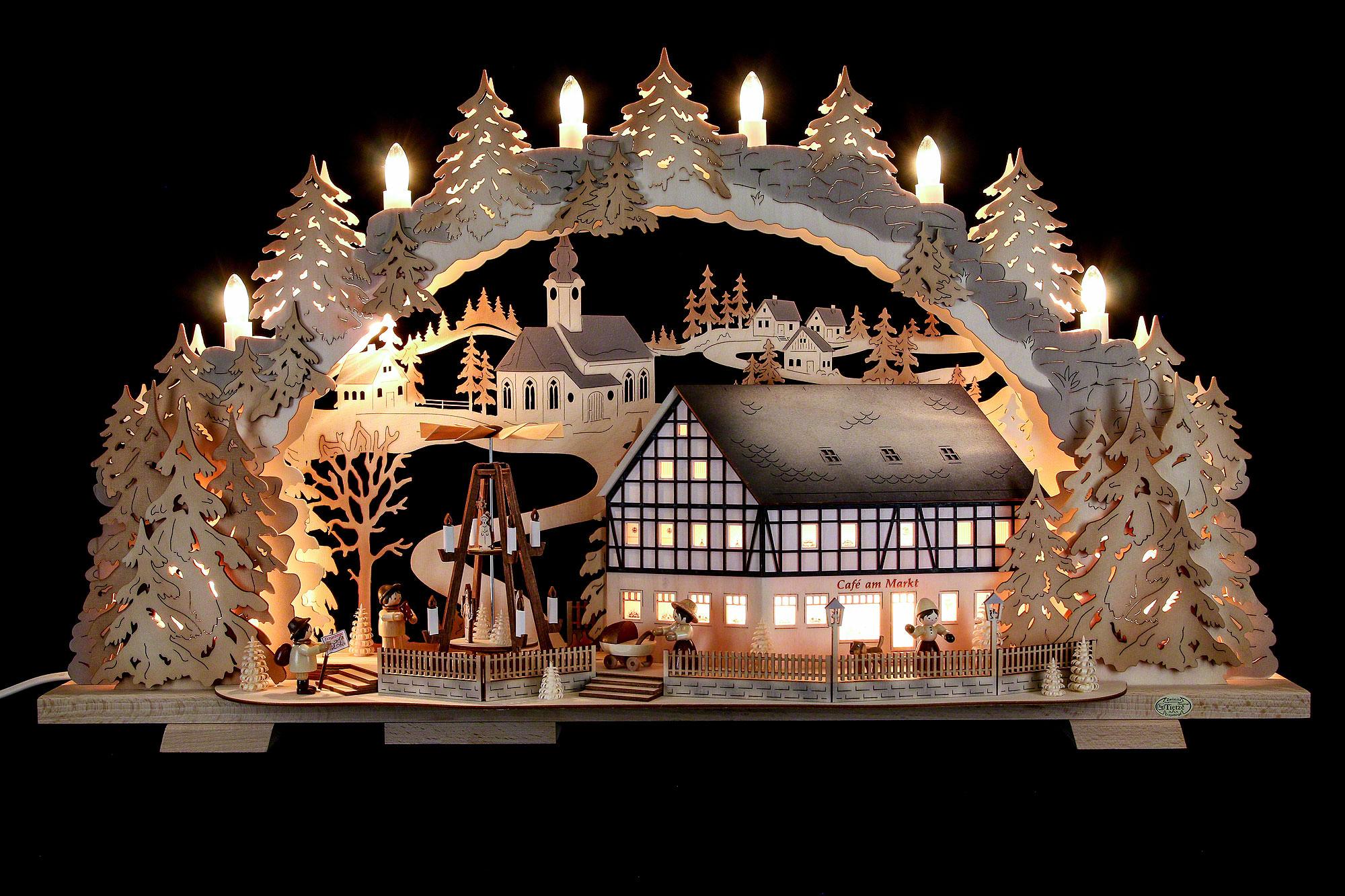 Moderne Lampen 72 : Schwibbogen café am markt mit drehender pyramide 72×43×13 cm von