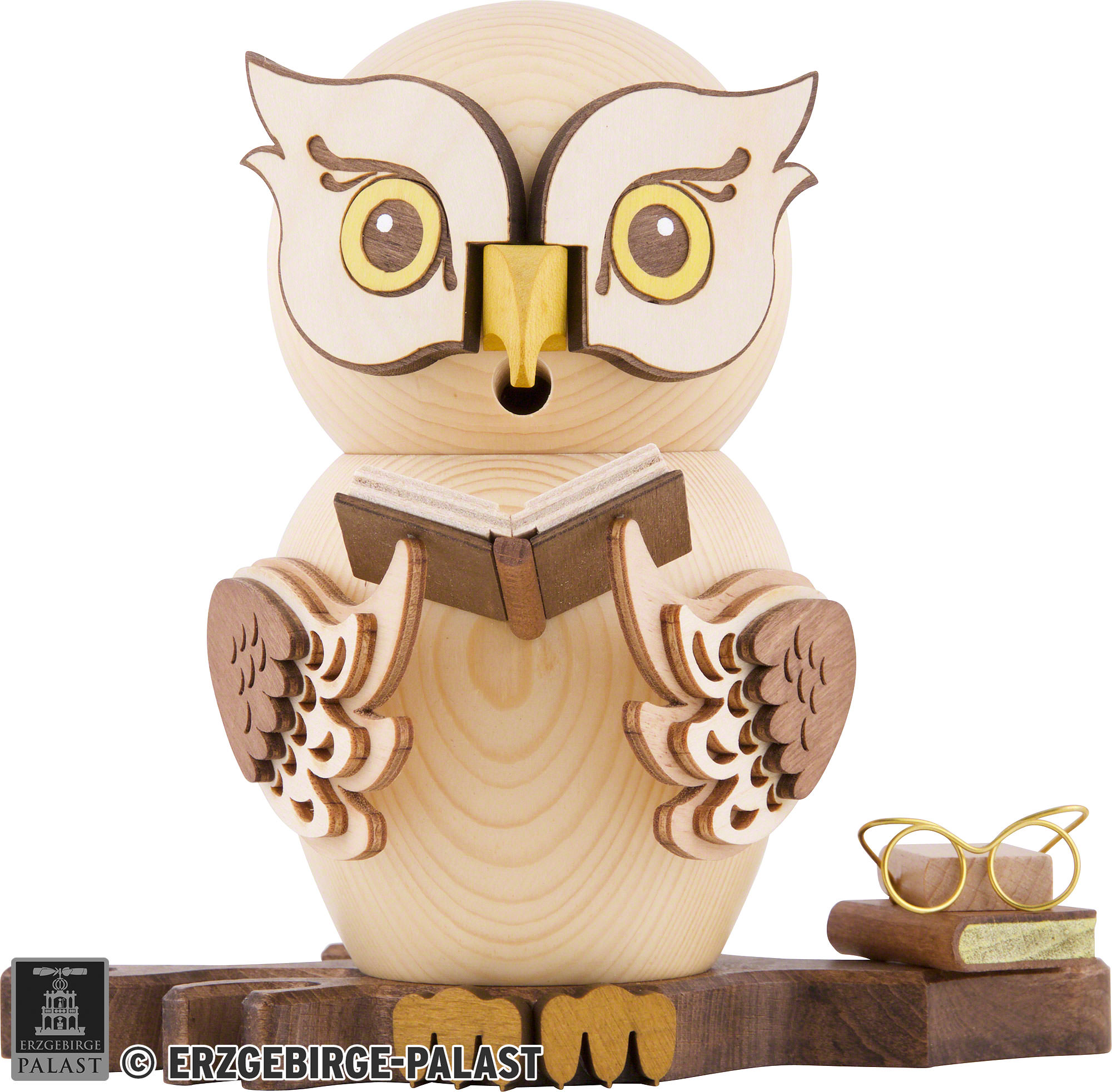 Smoker - Owl with Books (15 cm/5.9in) by Drechslerei Kuhnert