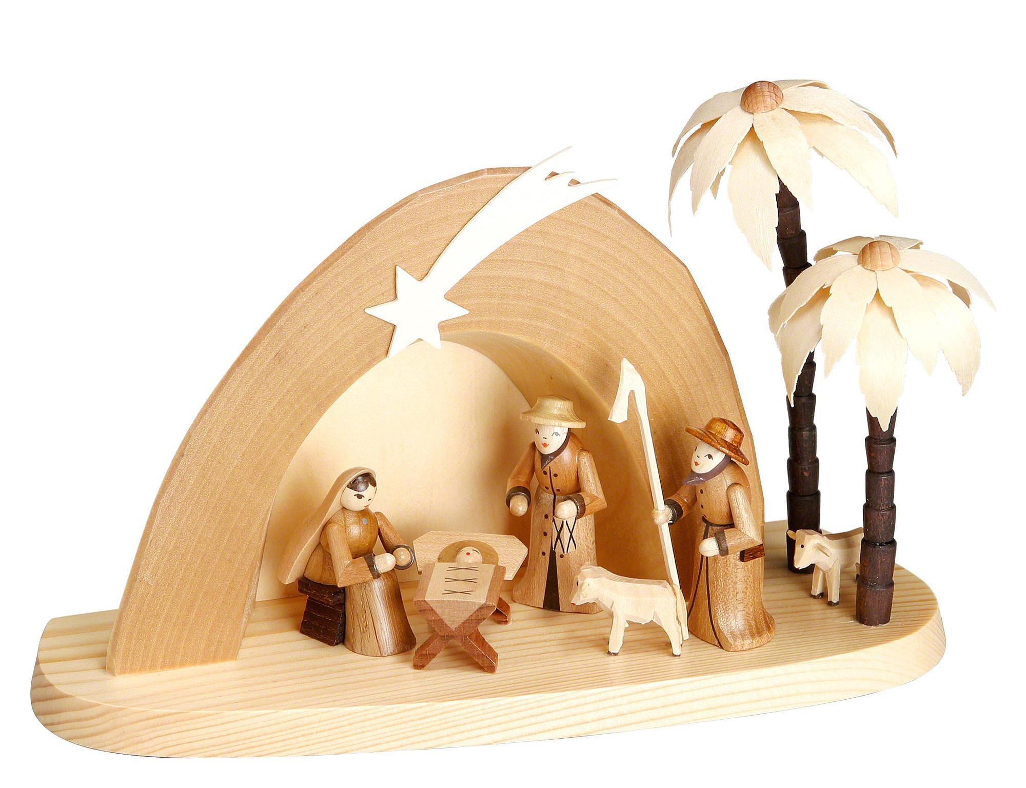 Weihnachtskrippe grotte 15 cm von theo lorenz - Krippe modern holz ...