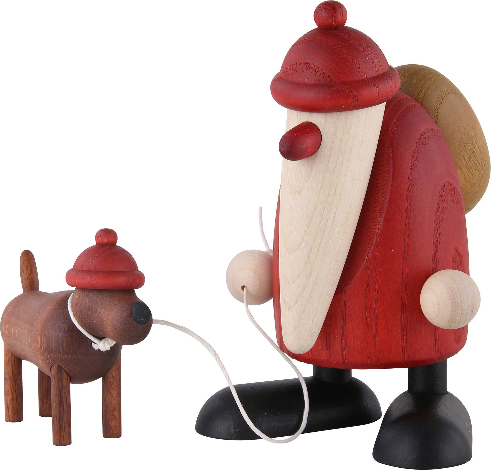 Weihnachtsmann mit Dackel Waldemar (9 cm) von Björn Köhler Kunsthandwerk