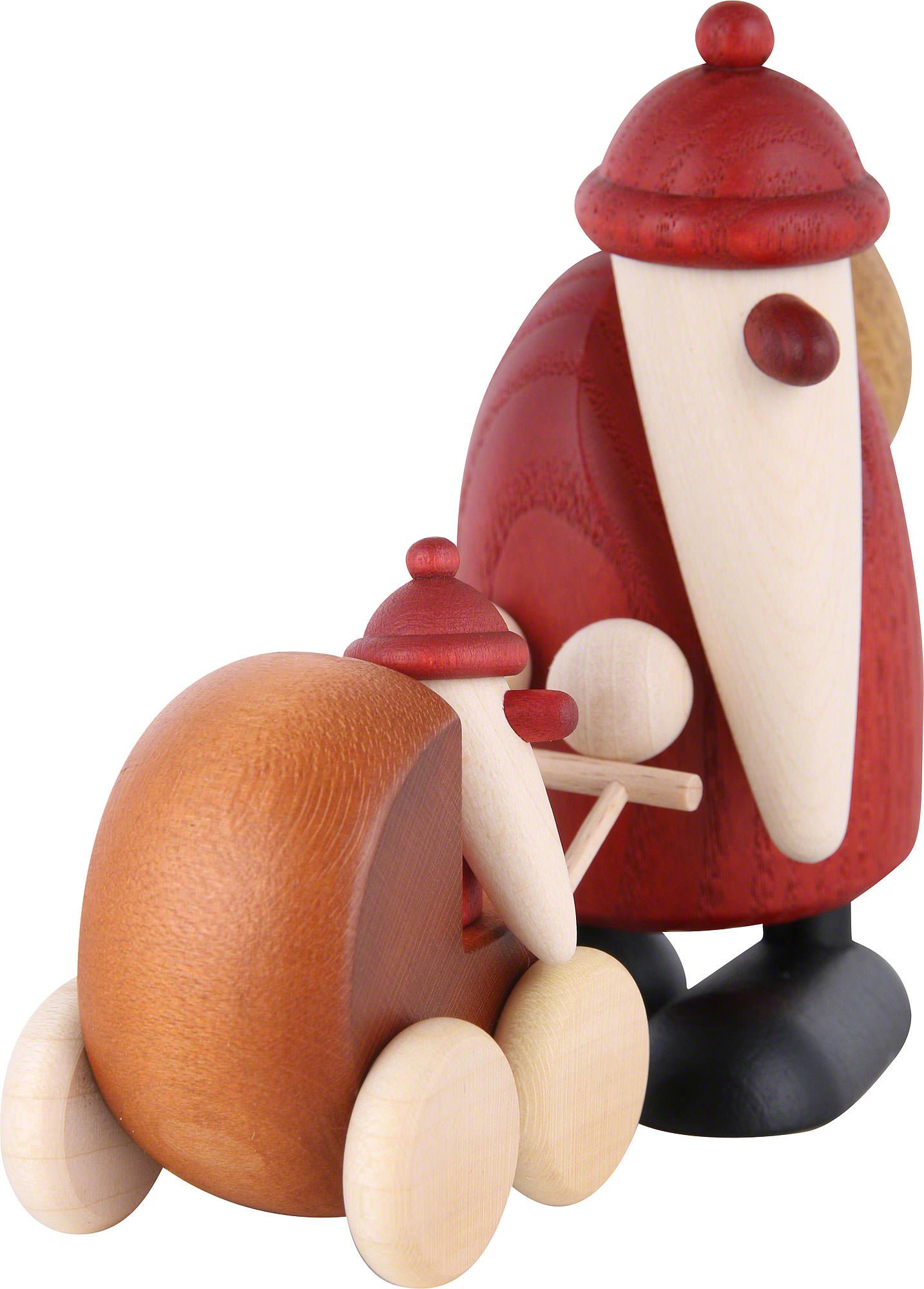 Weihnachtsmann mit Kinderwagen (9 cm) von Björn Köhler Kunsthandwerk