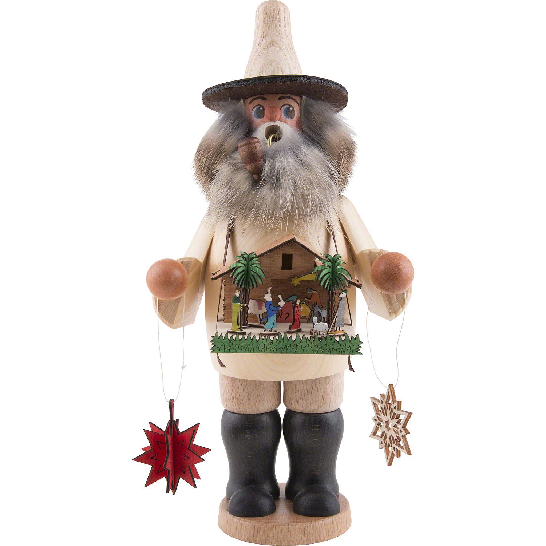 Räucherfigur mit Weihnachtskrippe