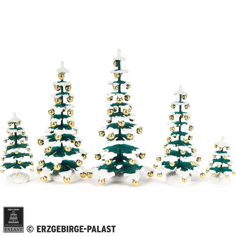Tannenbaum Erzgebirge.Tannenbäume Mit Goldkugeln 5 Teilig 15 Cm Von Dregeno Seiffen