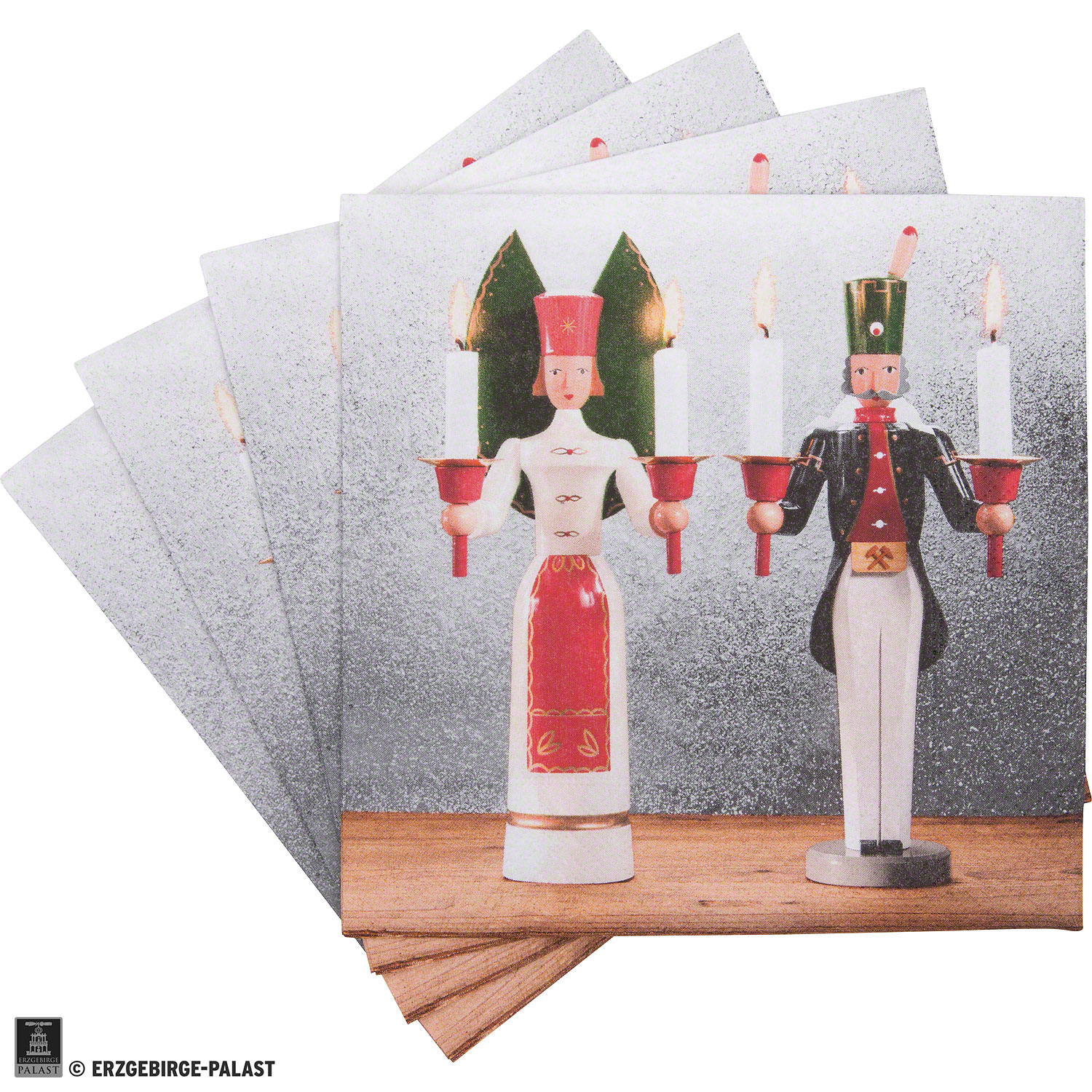 """Napkins """"Ore Mountain Tradition"""" Angel and Miner - 20 pcs"""
