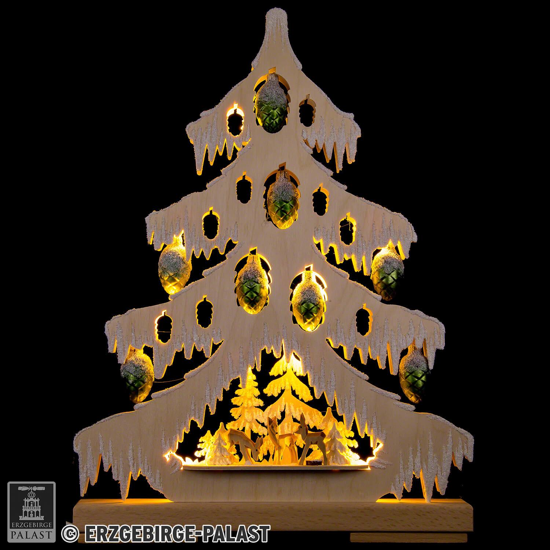 Dreieckiger Schwibbogen Lichtertanne mit Glaszapfen
