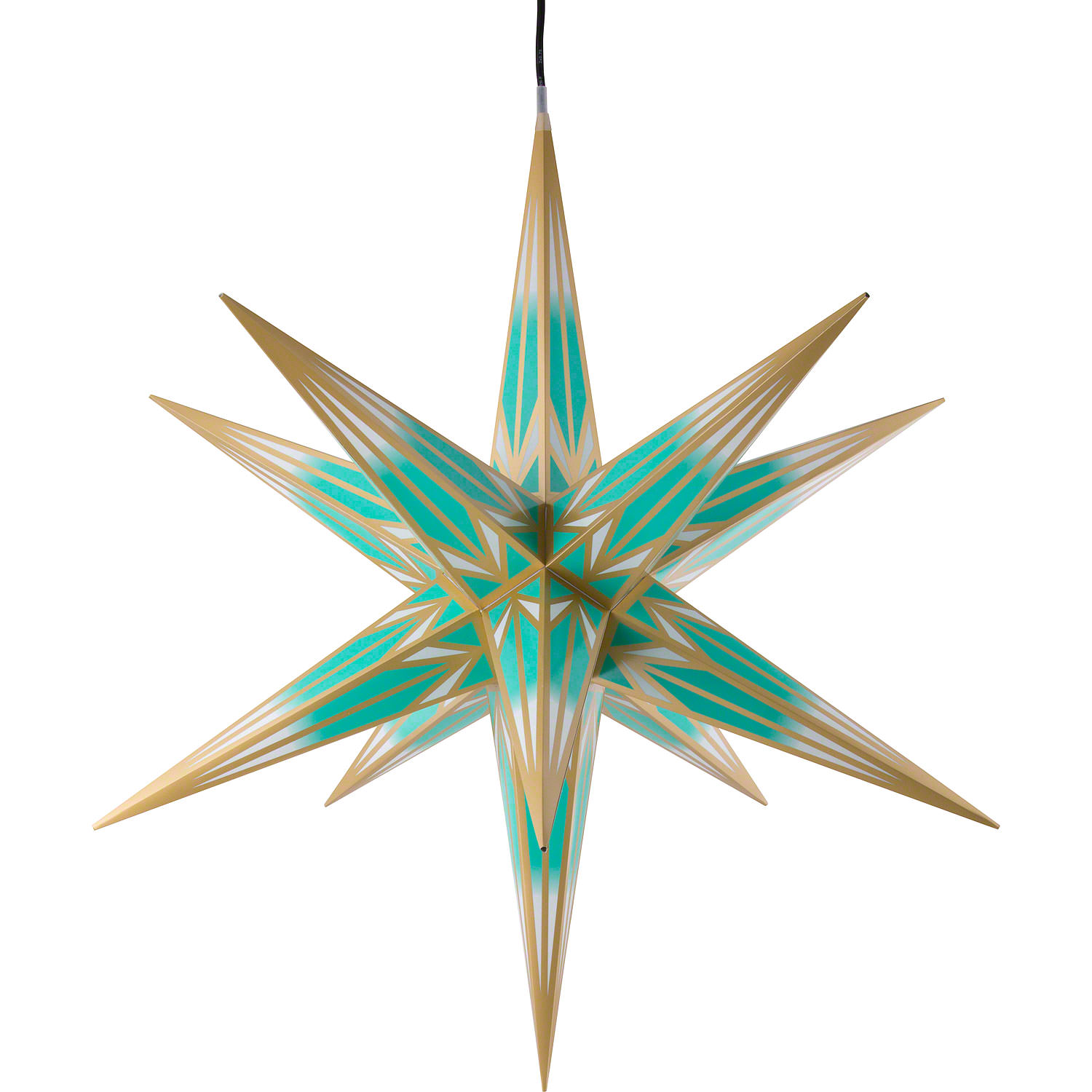 Hasslau Christmas Star for Inside and Outside Use Turquoise/White ...