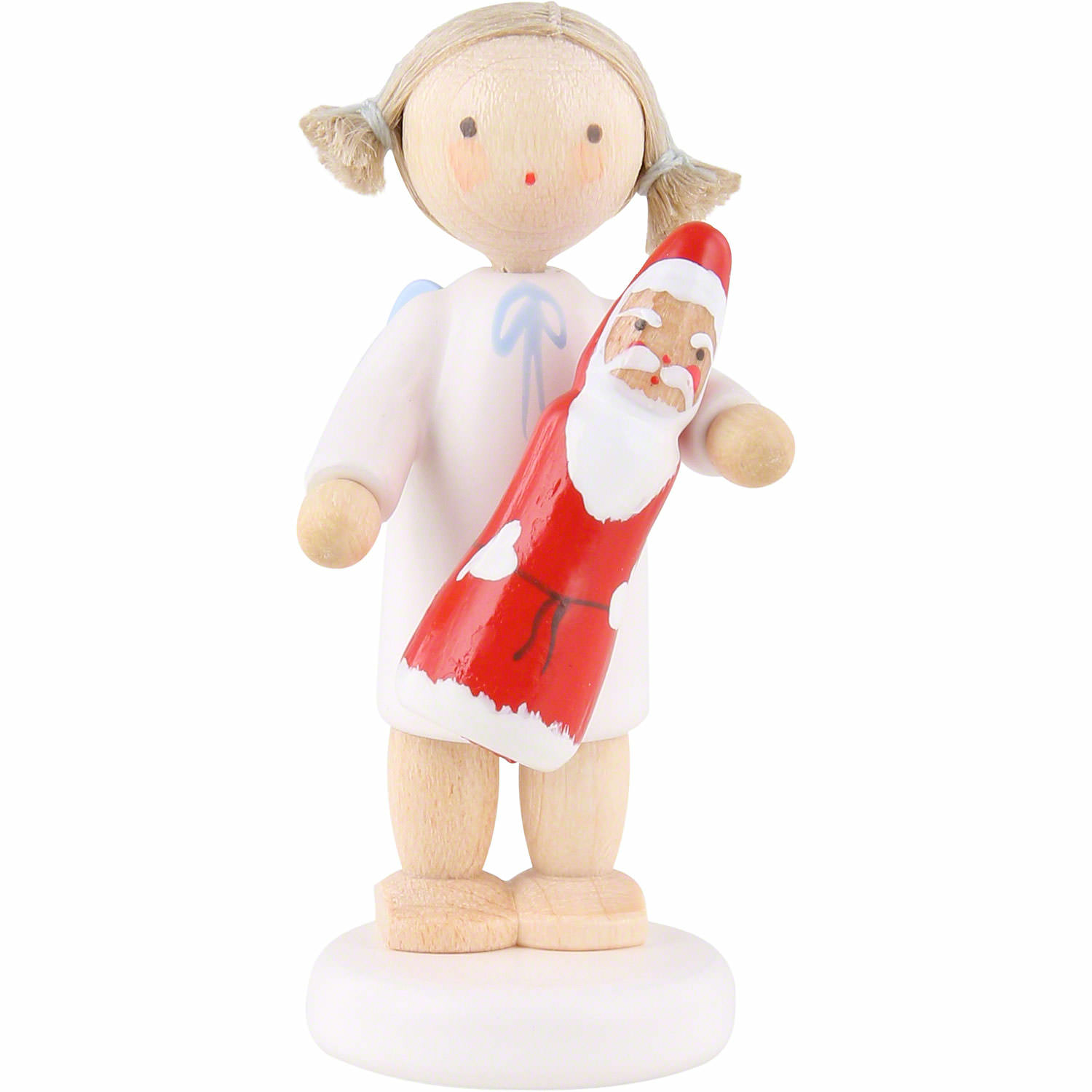Flax Haired Angel With Chocolate Santa 5 Cm 2 Inch