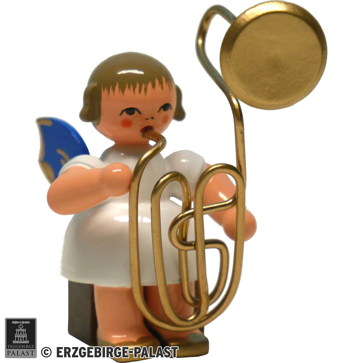 Angel with Contrabass Trombone - Blue Wings - Sitting - 8 cm / 3 1 inch