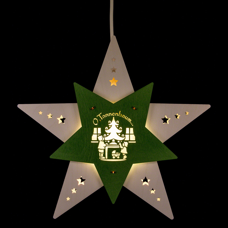 Tannenbaum Weiss Led.Fensterbild Stern Oh Tannenbaum Weiß Grün Led 30 5 29 6 Cm