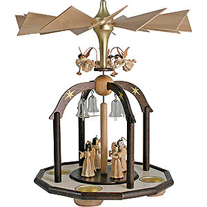 Christmas-Pyramids 1-tier Pyramids 1-Tier Bell Pyramid - Long Pleated Skirt Angels and Glass Bells - 38x28 cm / 15x11 inch