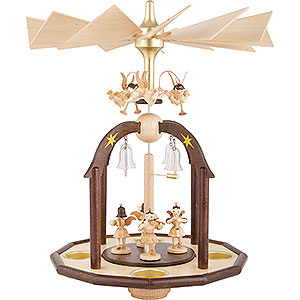 Christmas-Pyramids 1-tier Pyramids 1-Tier Bell Pyramid - Seven Angels and Glass Bells - 38x28 cm / 15x11 inch