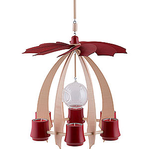 Christmas-Pyramids 1-tier Pyramids 1-Tier Hanging Pyramid NOVA - Maple/Rubyred - 33 cm / 13 inch
