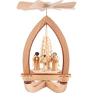 Christmas-Pyramids 1-tier Pyramids 1-Tier Pyramid - Angel & Miner - Natural - 28 cm / 11 inch