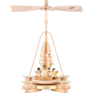 Christmas-Pyramids 1-tier Pyramids 1-Tier Pyramid - Angel Natural Wood - 25 cm / 9.8 inch