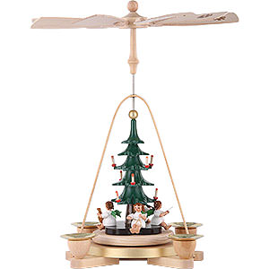 Christmas-Pyramids 1-tier Pyramids 1-Tier Pyramid - Angel with Christmas Tree - 25 cm / 9.8 inch