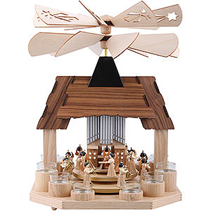 Christmas-Pyramids 1-tier Pyramids 1-Tier Pyramid - Angels with Two Counter Rotating Winged Wheels - 41 cm / 16 inch